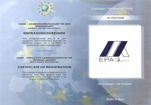EPAQ Quality Label - Certificate of Registration