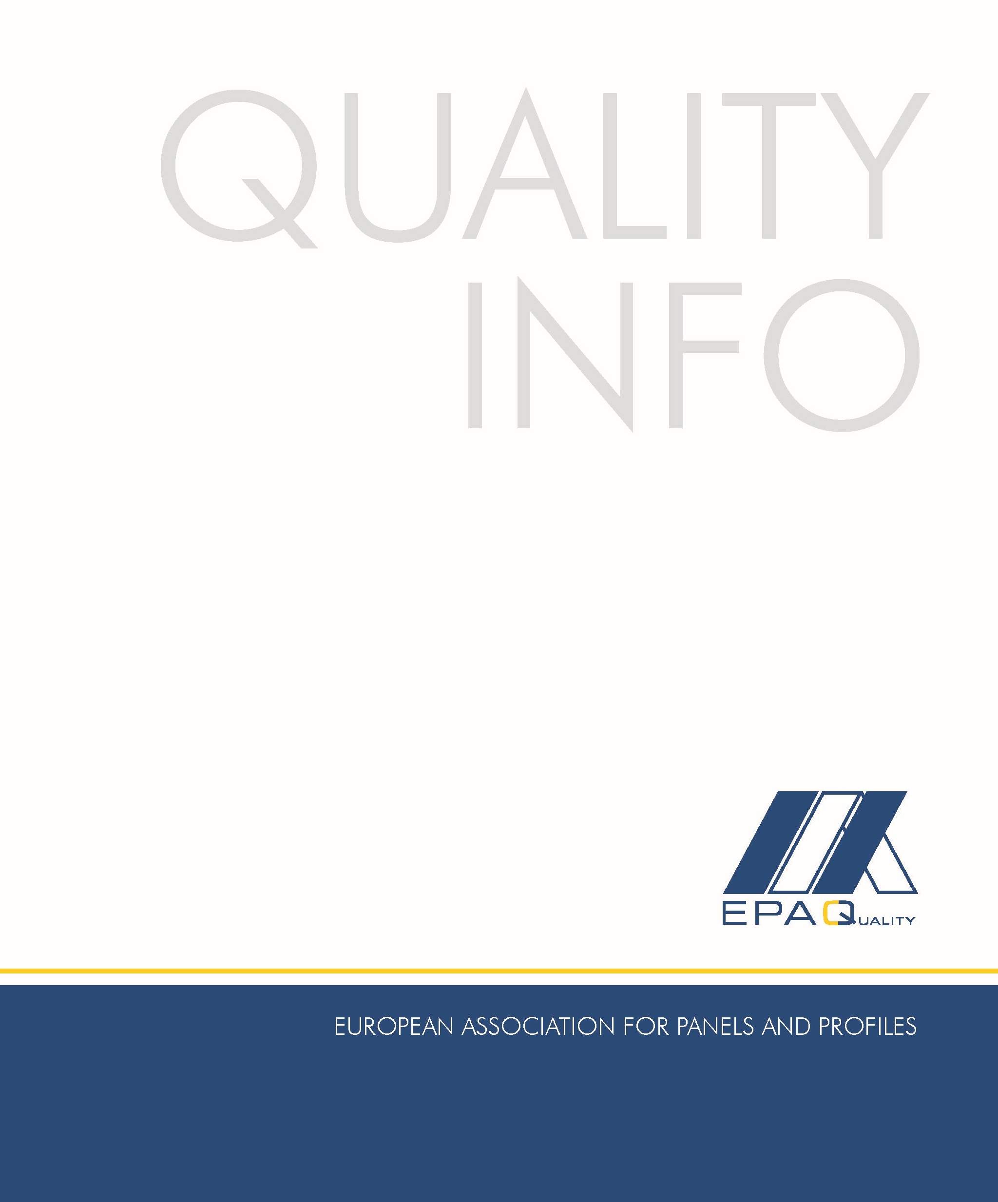"Front cover of the ""EPAQ Quality Info"" file"