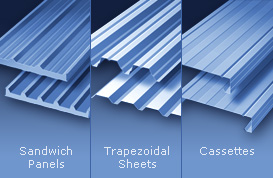 High quality sandwich panels, trapezoidal sheets, cassettes